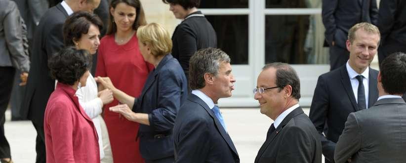 Jérôme Chuzac et François Hollande à l'issue d'un précédent Conseil des ministres.