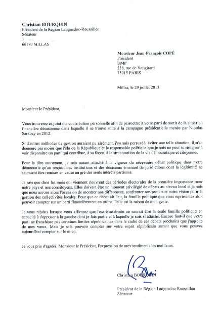 Courrier signé de Christian Bourquin, sénateur divers gauche et président de la région Languedoc-Roussillon, à l'attention de Jean-François Copé.