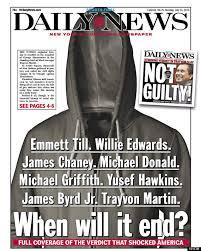 La Une laconique de DailyNews au sujet de l'affaire Tryvon Martin, juillet 2013