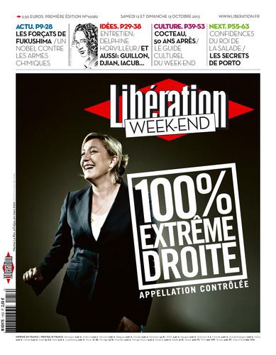 """La Une de Libération, suite au débat : """" le FN est-il un parti d'extrême droite ?"""""""