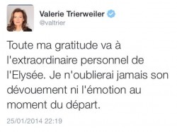 Le tweet de Valérie Trierweiler daté du 25/01/14