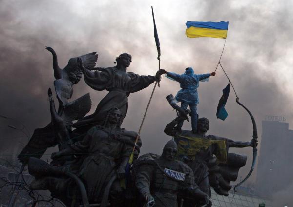 Photographie de rue prise par un habitat de Kiev jeudi 19 février, et relevée sur le site social Instagram