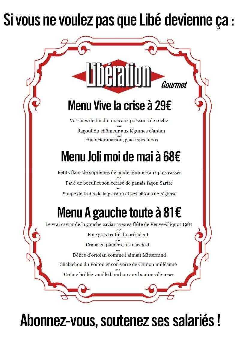 Sur la page Facebook créee par des salariés de Libération, ce menu caustique