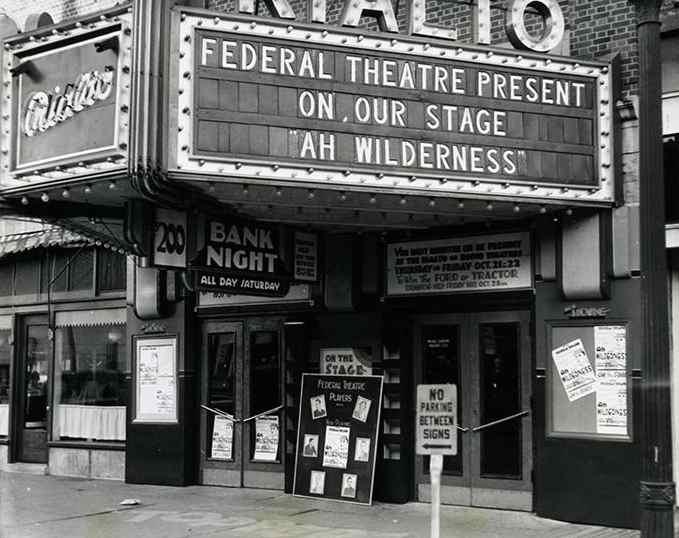 """Un des salles de new-York participant au """"Federal Theatre Project"""" mis en place à la fin des années 1920 au Etats-Unis"""