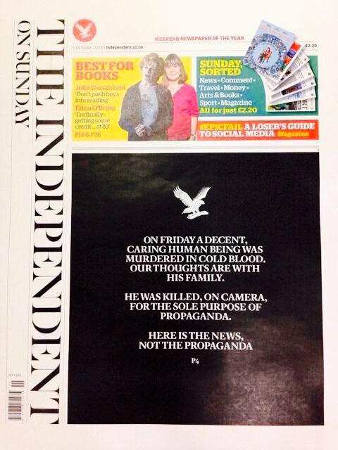 La Une the The Independent, datée du 5 otobre 2014.