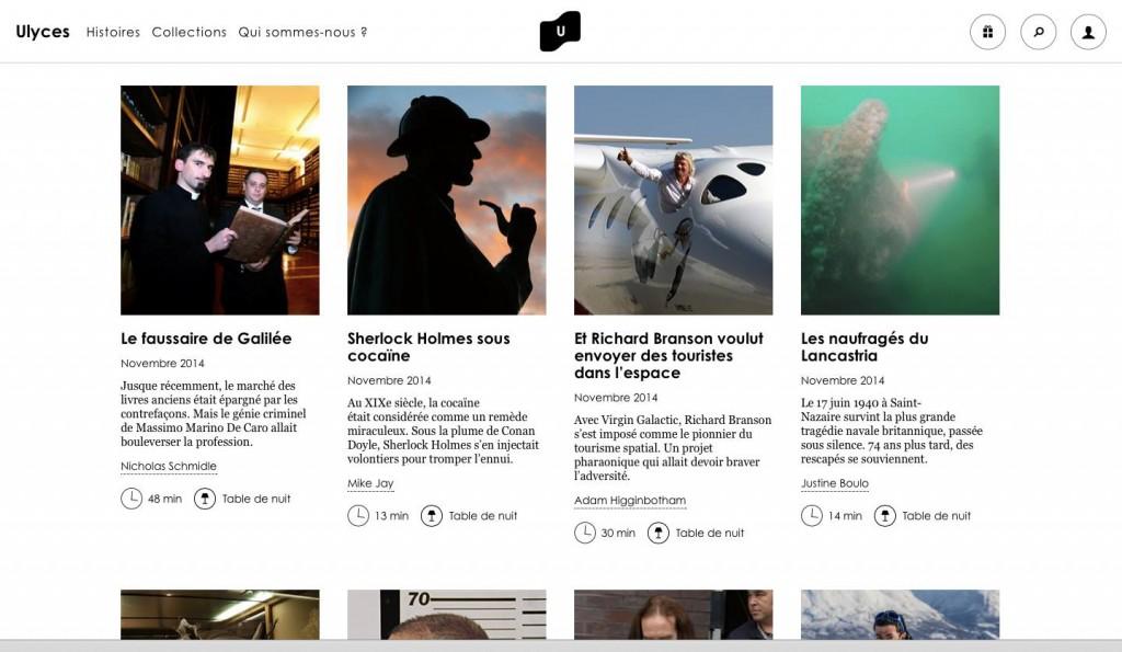 """Les """"histoires"""" quotidiennes d'Ulyces, exposées sur la home page du site"""