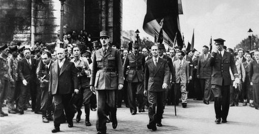 Charles de Gaulle, leader of the Free French in Paris.   1944