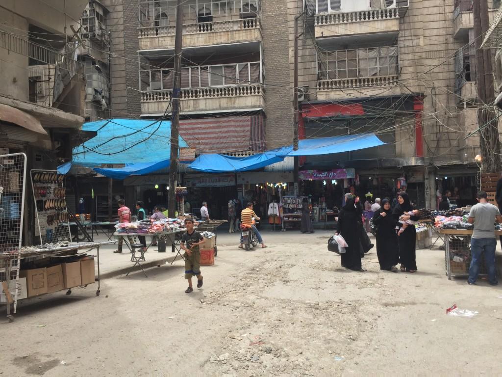 Un marché jadis très fréquenté dans le quartier de Hanano, à Alep, toujours sous contrôle de la rébellion. Photo (mai 2016) : F.A / Intégrales Mag