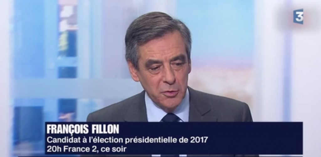 Copie-écran d'une intervention de François Fillon sur France 3, le mois dernier
