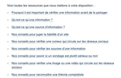 """Exemple des conseils pédagogiques donnés par Les Decodex (capture d""""écran des liens)"""
