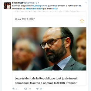 Un peu préssé, le Télégramme parie sur Edouard Philippe, actuel maire du Havre. Bonne photo, mais la légende a fait rire.